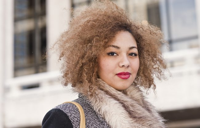 On the Street: a Petite Blonde Afro