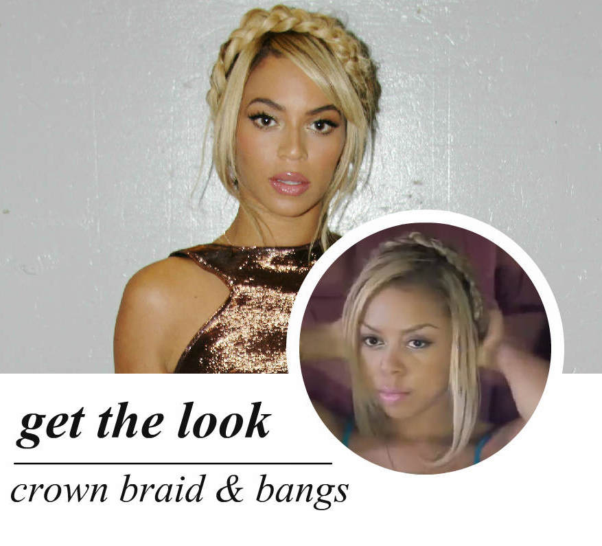 celeb-inspired: beyoncé's crown braid with bangs (video)