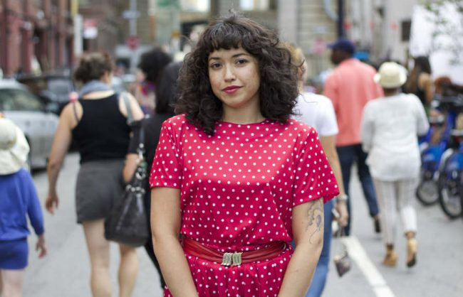 on the street: curls, bangs and polka dots