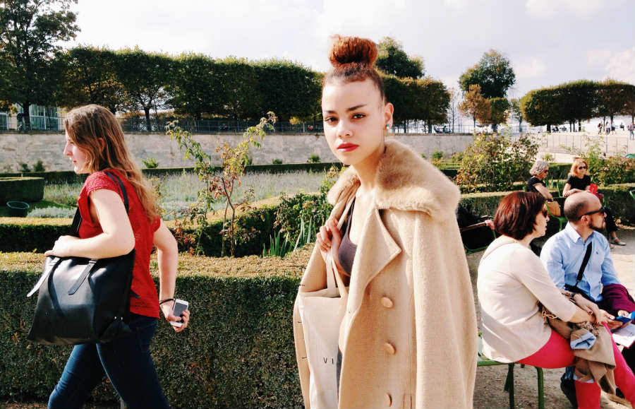 on the street: a high bun in the tuileries