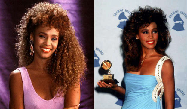 02102015_WhitneyHouston_LongHair_Mullet_Curls_BrownHair_Bangs _Grammys