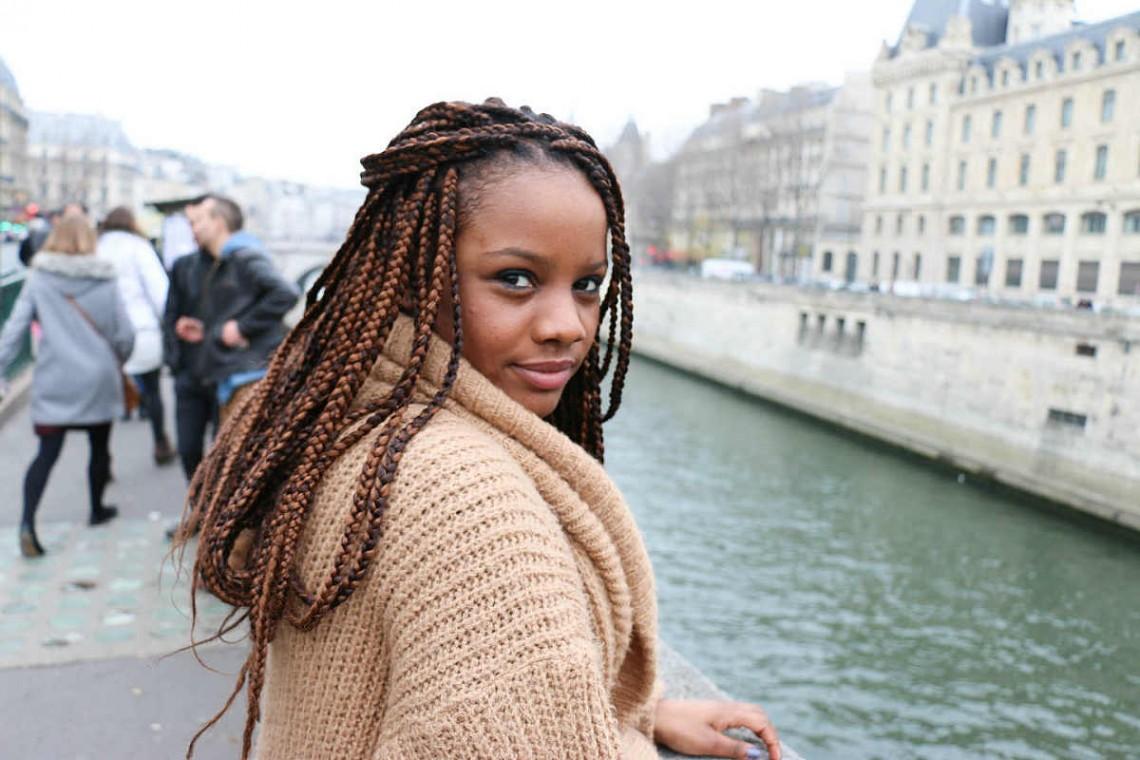 On the Street, Paris: Brown Box Braids by the Seine
