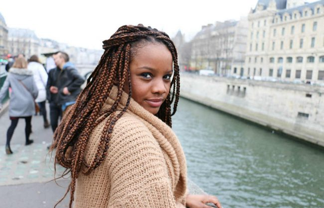 On the Street, Paris: Brown Box Braids by the Seine