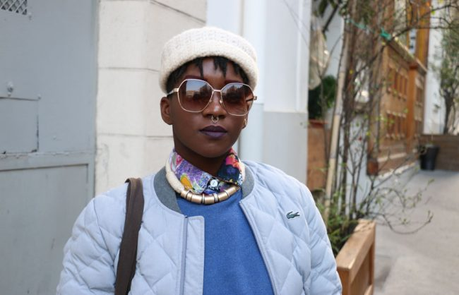 On the Street, Paris: Lydie's Shaved Sides and Locs