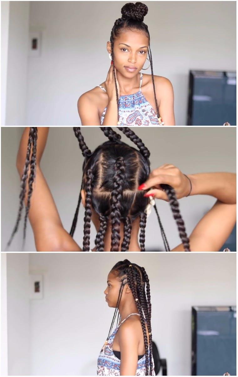 easy fulani tribal braids with bun