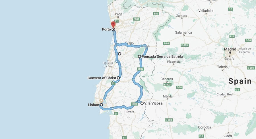 Portugal Road Trip Map